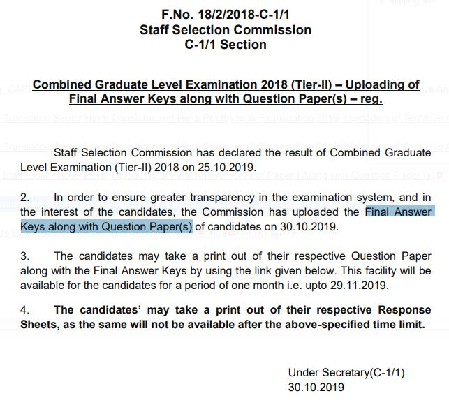 SSC CGL Answer Key with Question papers