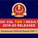 SSC CGL Result Tier 1 2019