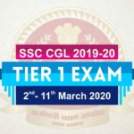 SSC CGL Tier 1 Exam Date 2019-20
