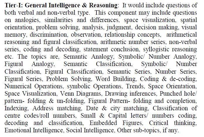 SSC CGL tier 1 general intelligence