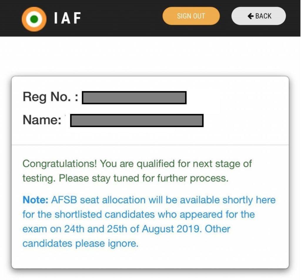 AFCAT Result declared