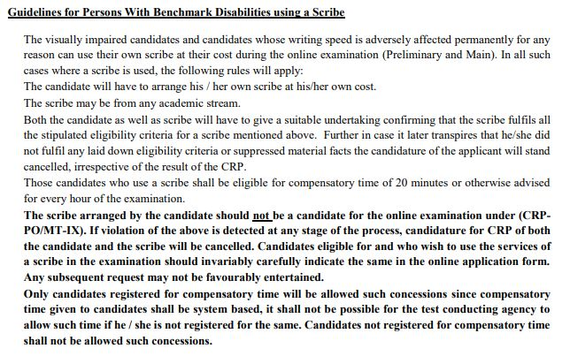 IBPS PO Exam Rules for Handicapp