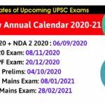 UPSC CSE New Annual Calendar 2020