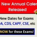 UPSC New Annual Calendar 2020